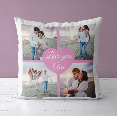 Aspire Designs Personalised Photo Heart Cushion Pillow Case & Insert | Pillowcase Cover | Gift