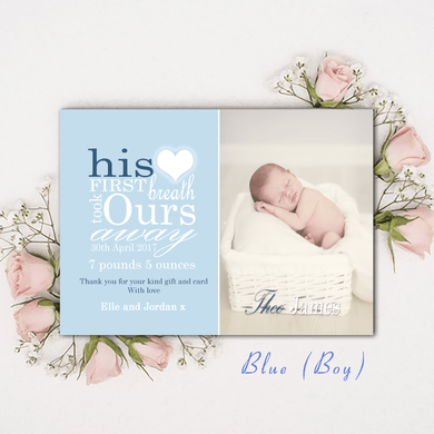 Aspire Designs Personalised Photo New Baby Birth Announcement Thank You Cards 10 / Yes / Blue (Boy)
