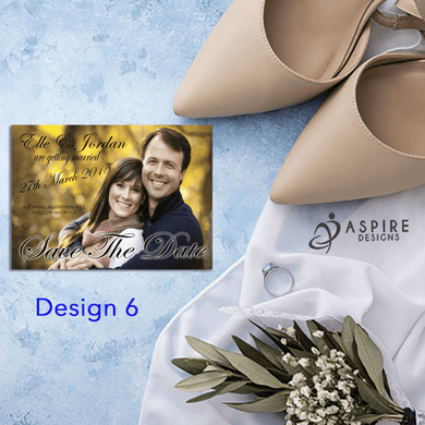Aspire Designs Personalised Photo Style Save The Date Cards / Wedding Invitations 10 / Yes