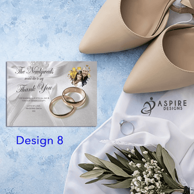 Aspire Designs Personalised Photo Wedding Ring Thank You Cards | Guest Thank You Notes 10 / Yes