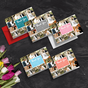 Personalised Picture Collage Folded Wedding Thank You Cards with Envelope | Folded A5 Cards