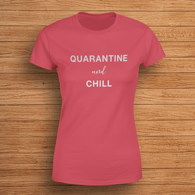 Aspire Designs Personalised Quarantine & Chill T-Shirt, Social Distancing Slogan Style Top Antique Cherry Red