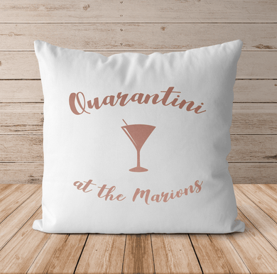 Aspire Designs Personalised Quarantini Cushion Pillow & Insert Present | Social Distancing Gift White / No