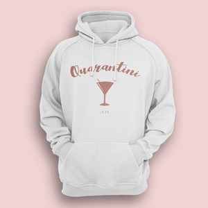 Aspire Designs Personalised Quarantini Hoodie, Social Distancing Slogan Jumper for Women & Men White