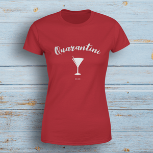 Aspire Designs Personalised Quarantini T-Shirt, Social Distancing Slogan Style Top Tee Gift Cherry Red