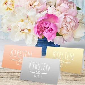 Aspire Designs Personalised Ring Theme Table Place Name Cards Printed for Weddings, Conferences, Parties