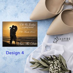 Aspire Designs Personalised Romantic Save The Date Cards / Wedding Invitations 10 / Yes