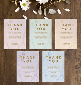 Aspire Designs Personalised Rose Gold Wedding Theme Thank You Card | Thank You Note + Envelopes 10 / Yes / Design 1