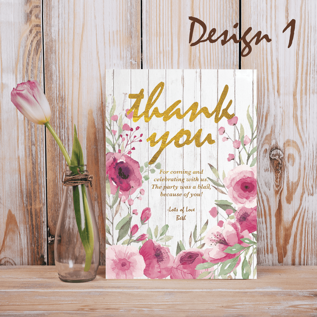 Aspire Designs Personalised Rustic Floral Adult Birthday Party Thank you Cards 10 / Yes / Design 1