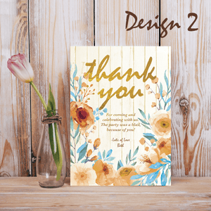Aspire Designs Personalised Rustic Floral Adult Birthday Party Thank you Cards 10 / Yes / Design 2