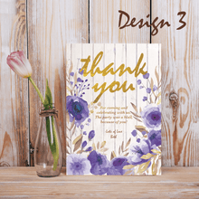 Load image into Gallery viewer, Aspire Designs Personalised Rustic Floral Adult Birthday Party Thank you Cards 10 / Yes / Design 3