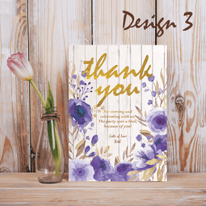 Aspire Designs Personalised Rustic Floral Adult Birthday Party Thank you Cards 10 / Yes / Design 3