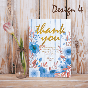 Aspire Designs Personalised Rustic Floral Adult Birthday Party Thank you Cards 10 / Yes / Design 4