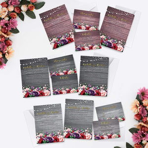 Aspire Designs Personalised Rustic Floral Wedding Invitation Set | Day/Evening Invite, RSVP & Info Cards 10 / Yes / Invitation Only