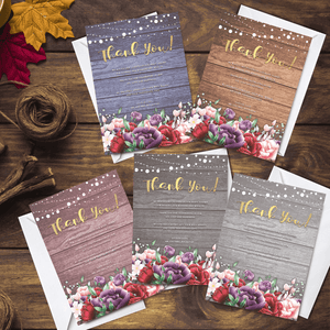 Aspire Designs Personalised Rustic Floral Wedding Thank You Cards | Wedding Favours 10 / Yes / Design 1