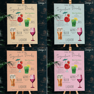 Aspire Designs Personalised Signature Drinks Wedding Board Chart Sign | Wedding Board A1 A2 A3