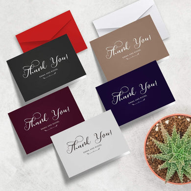 Aspire Designs Personalised Simple Elegant Folded Wedding Thank You Cards with Envelope | Folded A6 Cards 1 / No / Yes
