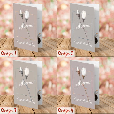 Aspire Designs Personalised Simple Floral Theme Happy Birthday Mum Card | Greeting Cards