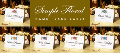 Aspire Designs Personalised Simple Floral Theme Table Place Cards for Wedding, Conference, Party, and Other Events Digital File (JPEG) / 1