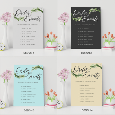Aspire Designs Personalised Simple Green Foliage Wedding Order of Service Board Chalk Board Design | Wedding Order of Event Chart A1 A2 A3