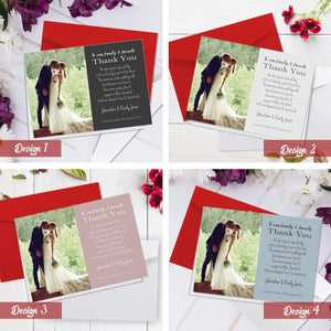 Aspire Designs Personalised Simple Wedding Thank You Cards with Photo | Folded A6 1 / No / Yes