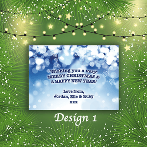 Aspire Designs Personalised Snowflake Merry Christmas Cards Xmas Postcards 10 / Yes