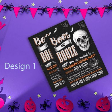 Aspire Designs Personalised Spooky Adult Halloween Party Invitations 10 / Yes / Design 1