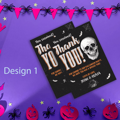Aspire Designs Personalised Spooky Halloween Party Thank You Cards 10 / Yes / Design 1