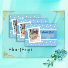 Load image into Gallery viewer, Aspire Designs Personalised Star Baptism Thank You Cards for Boy or Girl with Photo 10 / Yes / Blue (Boy)