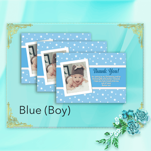 Aspire Designs Personalised Star Baptism Thank You Cards for Boy or Girl with Photo 10 / Yes / Blue (Boy)