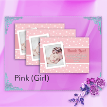 Load image into Gallery viewer, Aspire Designs Personalised Star Baptism Thank You Cards for Boy or Girl with Photo 10 / Yes / Pink (Girl)