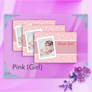 Aspire Designs Personalised Star Baptism Thank You Cards for Boy or Girl with Photo 10 / Yes / Pink (Girl)