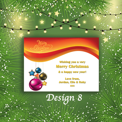 Aspire Designs Personalised Star Bauble Merry Christmas Cards Xmas Postcards 10 / Yes