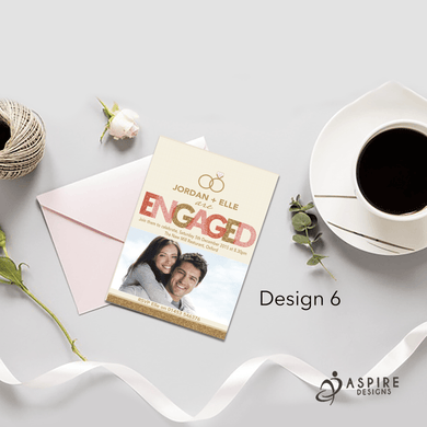 Aspire Designs Personalised Stylish Engagement Party / Announcement Invitations 10 / Yes