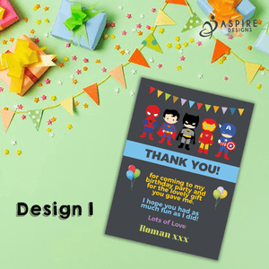 Aspire Designs Personalised Superhero Thank You Cards | Childrens Thank You Notes 10 / Yes / Design 1