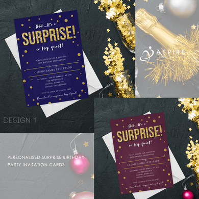 Aspire Designs Personalised Surprise Adult Birthday Party Thank You Cards