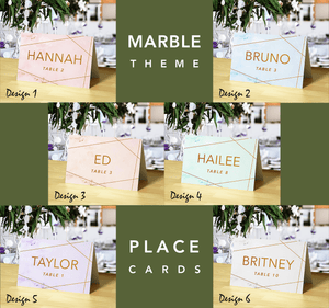 Aspire Designs Personalised Table Place Cards for Wedding and Other Event | Marble and Glitter Theme