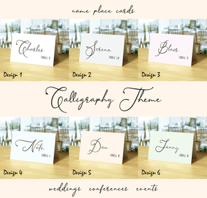 Aspire Designs Personalised Table Place Name Card for Wedding, Conference & Party | Calligraphy Theme