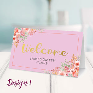 Aspire Designs Personalised Table Place Name Cards Printed for Weddings, Conferences & Parties Design 1 / 1