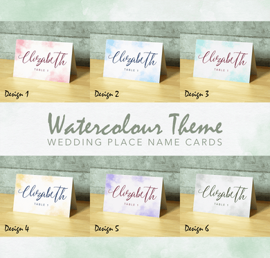 Aspire Designs Personalised Table Place Name Cards Printed for Weddings, Conferences, Parties | Watercolour Theme Design 1 / 1