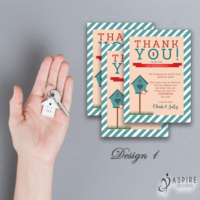 Aspire Designs Personalised Thank You Cards for New House Gifts 10 / Yes / Design 1