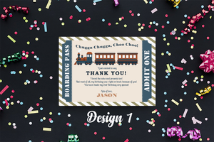 Aspire Designs Personalised Train Kids Birthday Party Thank You Cards 10 / Yes / Design 1