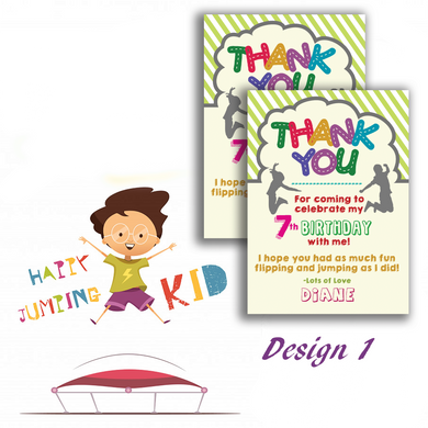 Aspire Designs Personalised Trampoline Themed Kids Birthday Party Thank You Cards 10 / Yes / Design 1