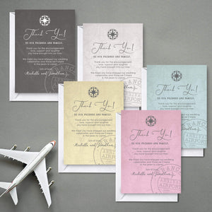 Aspire Designs Personalised Travel Destination Out of the Country Wedding Thank You Cards | Wedding Thank You Note with Envelope 10 / Yes / Design 1
