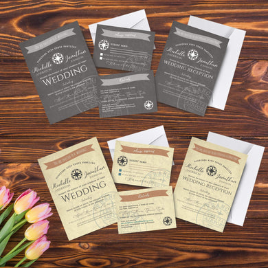 Aspire Designs Personalised Travel Destination Wedding Invitation Set | Day/Evening Invite, RSVP & Info Cards 10 / Yes / Invitation Only
