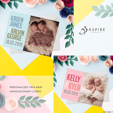 Aspire Designs Personalised Twin Baby Birth Welcome Announcement Cards Boys or Girls