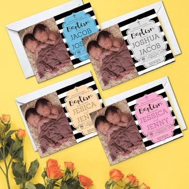 Aspire Designs Personalised Twins Baby Boy/Girl Christening Baptism Invitation Cards 10 / Yes / Design 1