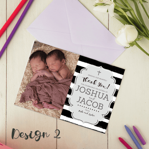 Personalised Twins Baby Boy/Girl Christening Baptism Thank You Cards