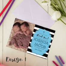 Load image into Gallery viewer, Personalised Twins Baby Boy/Girl Christening Baptism Thank You Cards