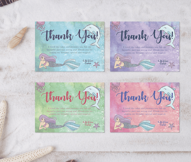 Aspire Designs Personalised Under The Sea Mermaid Birthday Party Thank You Cards 10 / Yes / Design 1